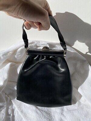 1930s Handbags and Purses Fashion Original 1930's Vintage Art Deco Black Leather & Chrome Ladies Evening Bag VTG $58.65 AT vintagedancer.com