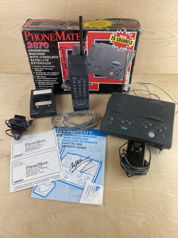 Phonemate 2870 Answering Machine With Cordless Satelite Phone Needs Batteries