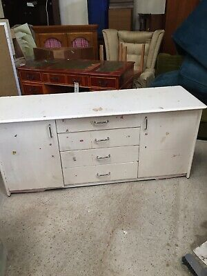 Vintage Painted Sideboard Buffet Cupboard School Storage Needs Painting 27/7/N