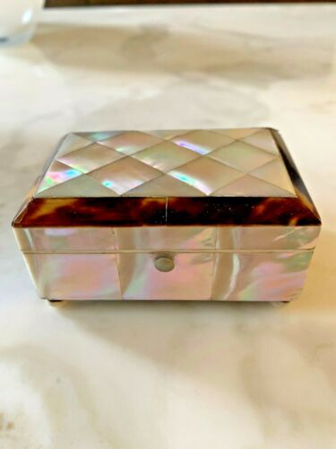 Antique Faux Tortoise Shell and Mother of Pearl Box