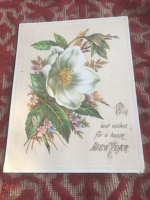 1890s fairly large new year card ! verse on the back