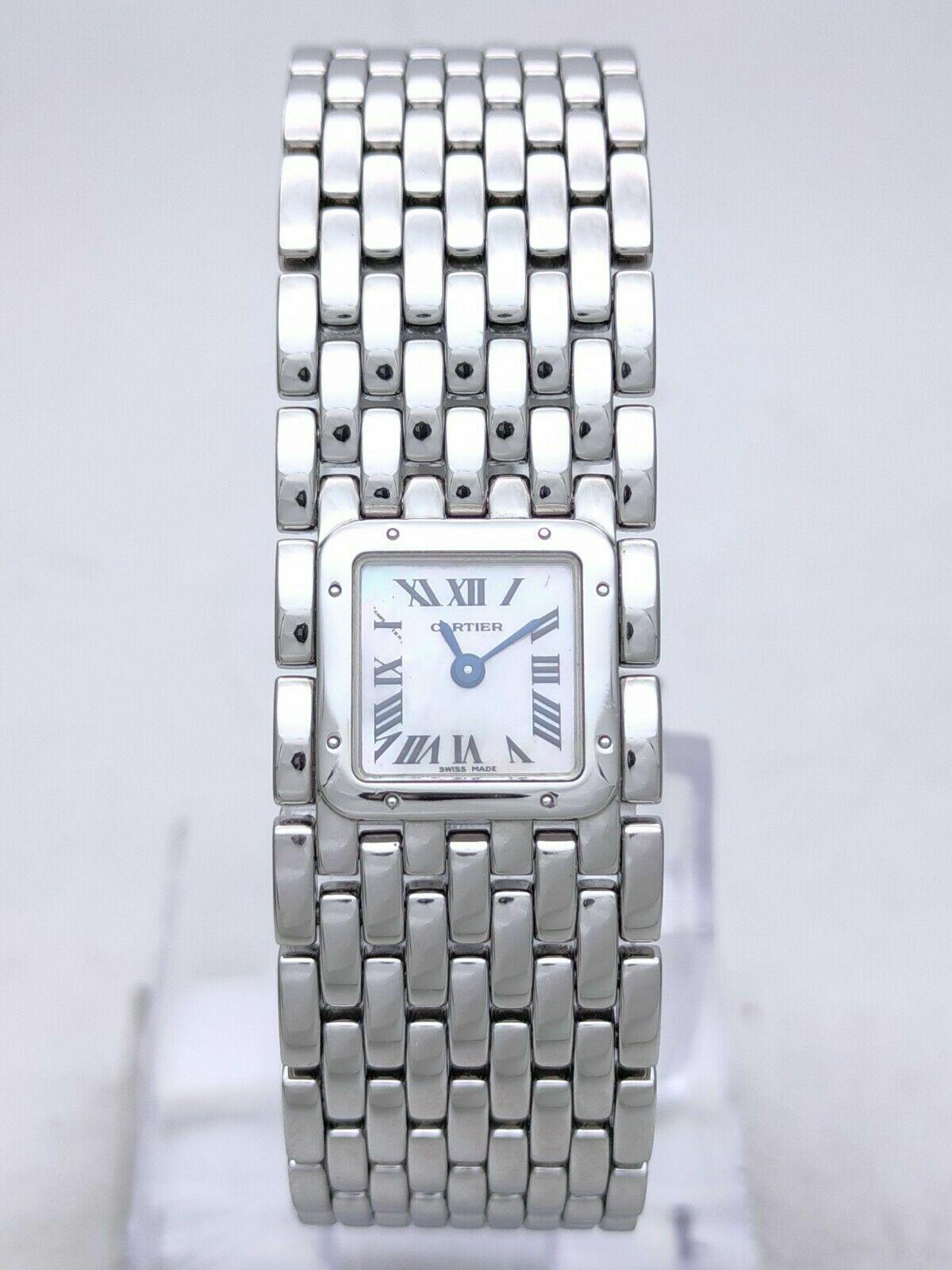 Cartier Panthere Ruban Mother Of Pearl Quartz Ref. 2420 Steel Women Wrist Watch