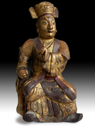 "Mongolian Warrior Antique Chinese Gilt Ancestor Effigy Wood Statue 17""H 蒙古雕像"