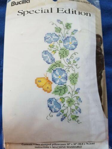"Bucilla ""Morning Glories"" Pillow Case Pair Stamped Linen Size 20"" x 30"""