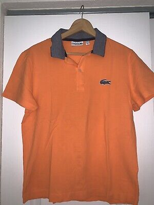 Mens Light Orange LACOSTE Short Sleeve Polo Shirt - Size 4