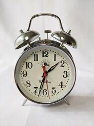 Rare Vintage Westclox Wind Up Alarm Clock Twin Silver Bells Working