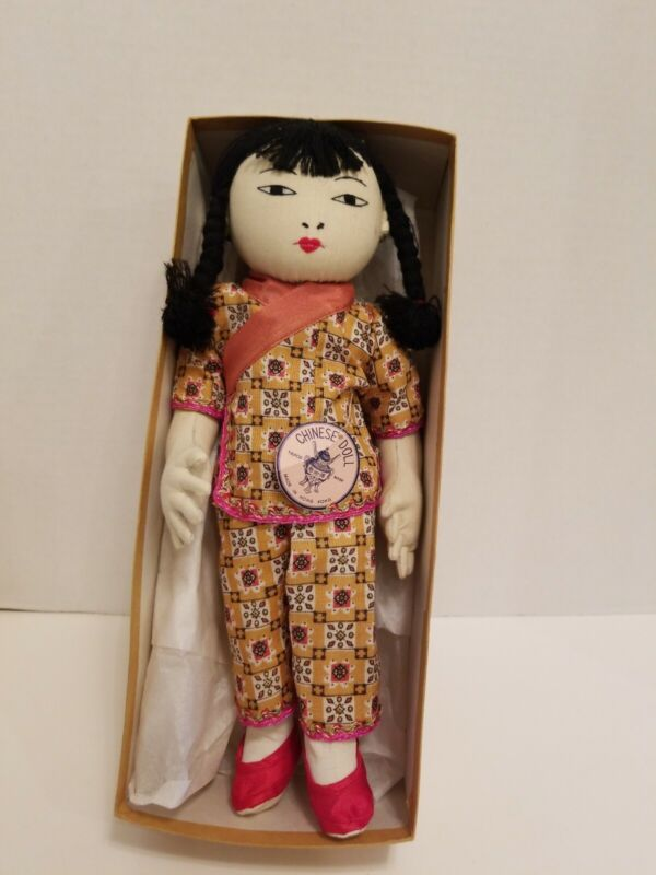 "Vintage Chinese Cloth Doll Embroidered Features 12"" Antique Girl Tag Doll #212"