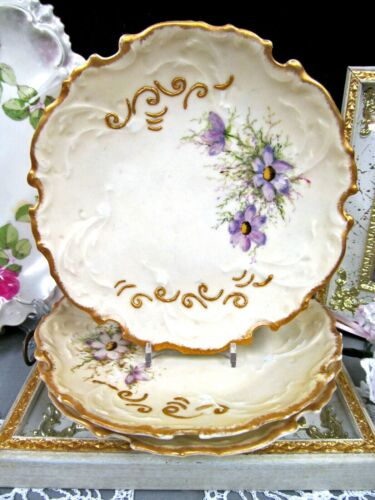 Limoges France set of 3 dessert plates painted floral raised gold gilt plate