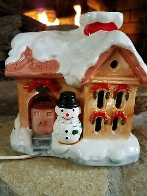 Vintage Ceramic Light Up Christmas House with Snowman Switch Control 6.5""