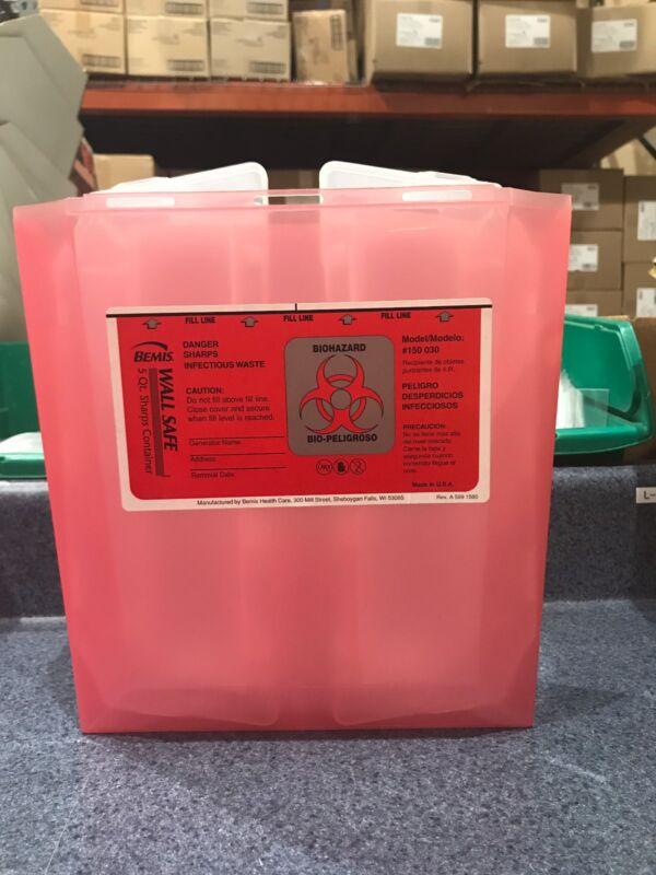 Bemis Biohazard Sharps Container 5 Quart #150-030 ----10 pack