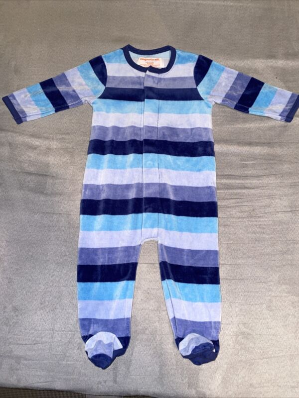 Preowned Magnetic Me Footie Blue Stripes 6-9M