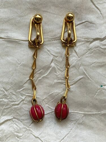 Vintage French Clip-on Gold plated Pendant Earrings,  red bead encaged 4.5cm