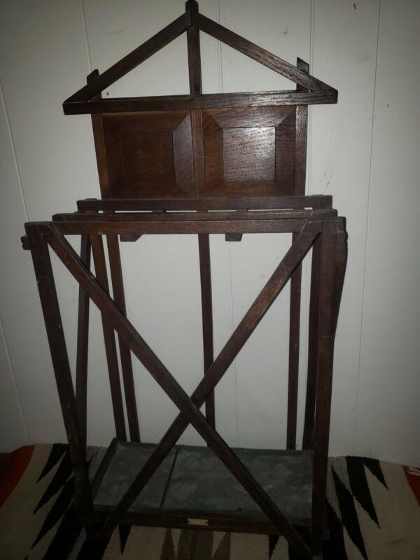 antique  arts & craft mission style solid oak umbrella stand original finish
