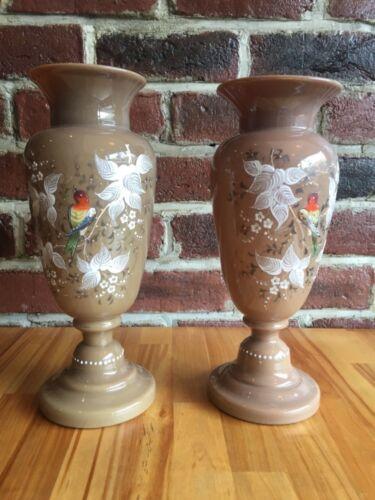 Antique Pair Bristol Glass Victorian Vases Hand Painted Flowers & Bird England