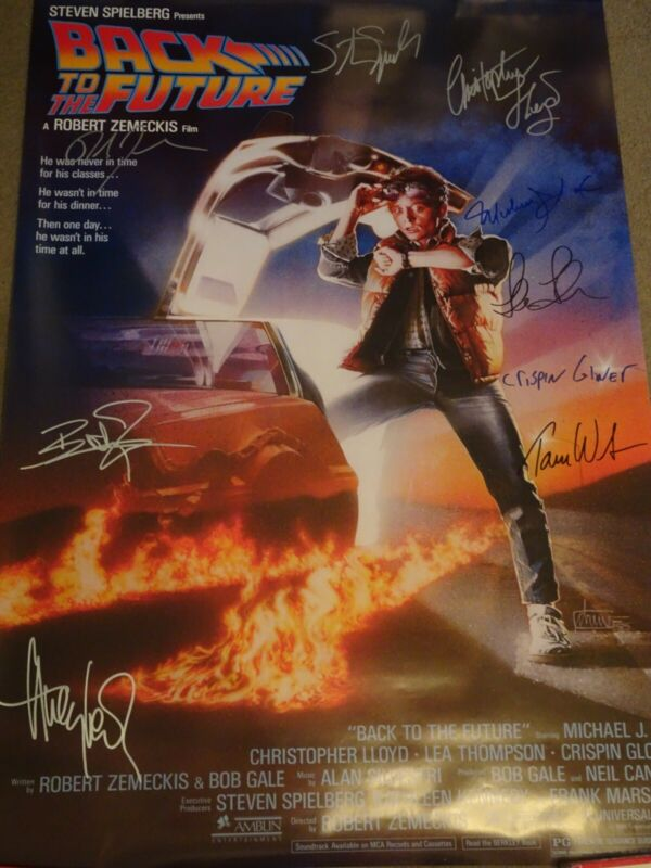 FANTASTIC Back To The Future 1985 Signed Movie Poster 9 sigs!!! w/ Huey Lewis!