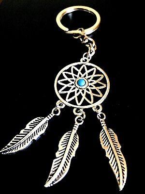 Schlüsselanhänger Traumfänger Glücksbringer Geschenk Metall Türkis Silber neu (Glücksbringer Schlüsselanhänger)