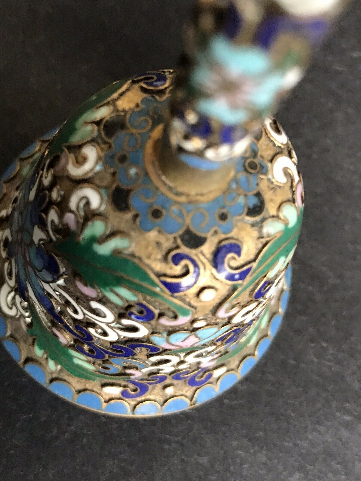 Vintage Antique Chinese Bell Champleve Enamel Cloisonne Floral Beautiful 4.5  - $49.90
