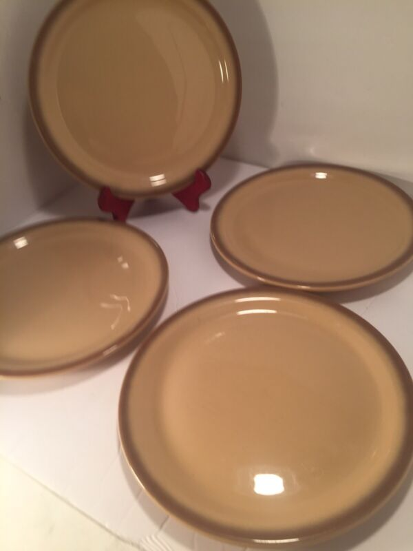 "Lot of (4) Vintage Shenango Restaurant Ware Plates Tan With Brown Stripe 9 3/4"""