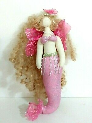 Mermaid Fairy Plush Doll Blonde curly hair pink tail and top Pink wings beaded