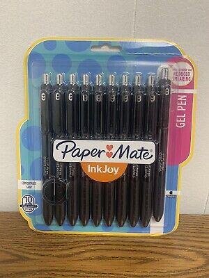 Paper Mate Inkjoy Retractable Gel Pens 0.5 Mm Black Barrel Black Ink 10-pack