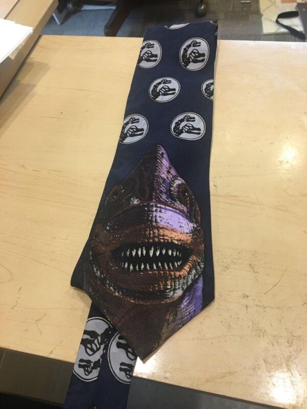 Vintage Jurassic Park Neck Tie Brontosaurus Polyester Black Brachiosaur Dinosaur
