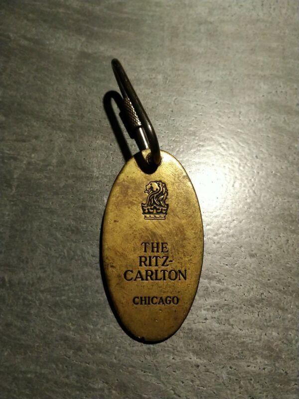 The Ritz Carlton Hotel Chicago Brass Room Oval Key Fob Keychain Holder Vintage