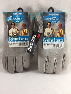 X2 Pair Wells Lamont Lined Grey Cowhide Leather Work Gloves Womens M New