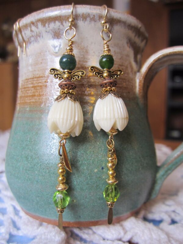 Long Tall Recycled Lily Flower Beaded Green Gem Fairy Gold EARRINGS Kirsten USA