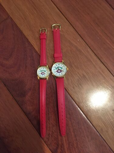 2 1983 Nelsonic Cabbage Patch Kids Wrist Watch Red Band 1 Real 1 Play for Doll
