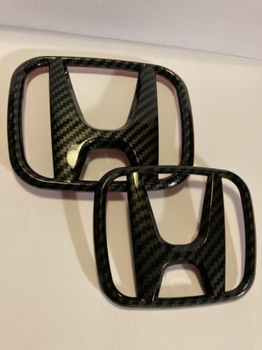 Honda 06-15 Civic Sedan FiT JDM Carbon Fiber H Type R Front Rear Emblem Badge