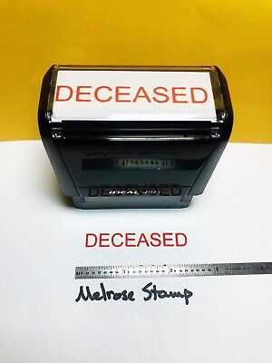 Deceased Rubber Stamp Red Ink Self Inking Ideal 4913