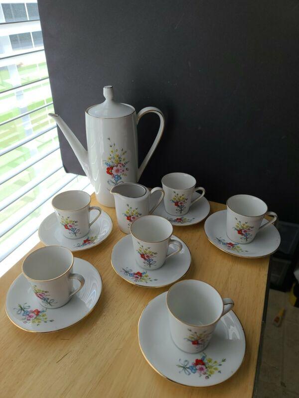 Mitterteich Bavaria Tea Set 15 Pcs  Floral Flowers Gold Trim Demitasse cups