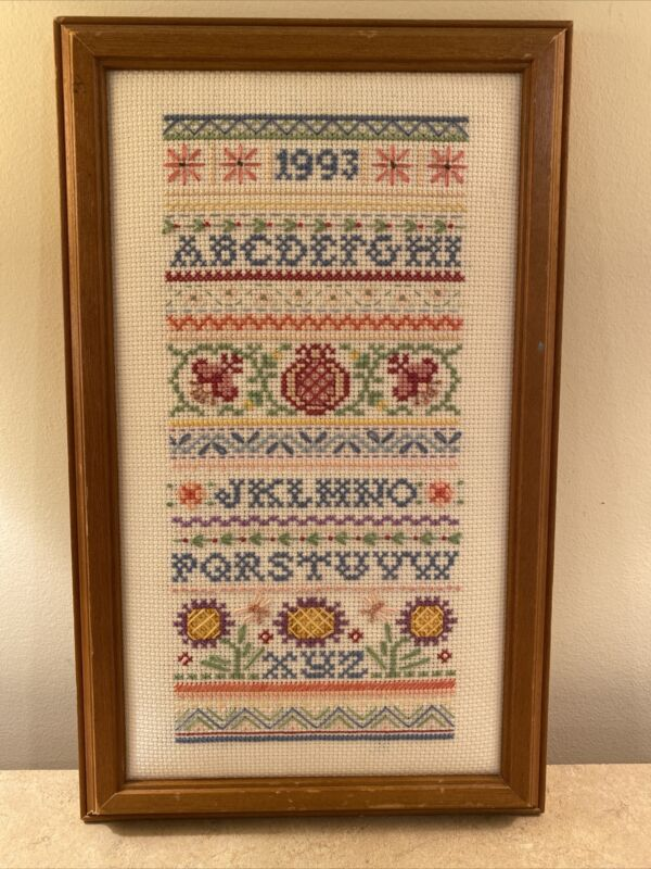 1993 Framed Alphbet Sampler Cross Stitch Embroidery