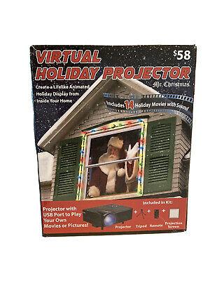 Mr Christmas Virtual Holiday Window Projector Santa Claus Christmas