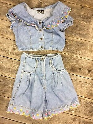 Vintage 80s 90s Switch Outfit jean Crop Shirt High Waist Shorts sz 5 Floral  - 80's 90's Outfits