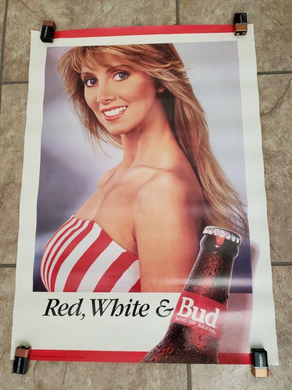 Budweiser Vintage POSTER Swimsuit Red White & Bud Girl Sexy Pinup Stripe Bikini