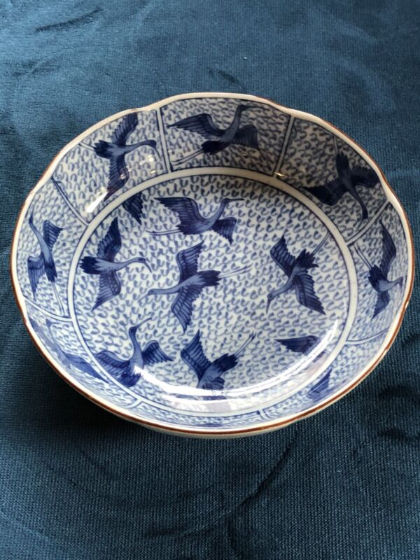 Asian Blue and White Porcelain Chinoiserie Bowl With Herons Or Crane Design