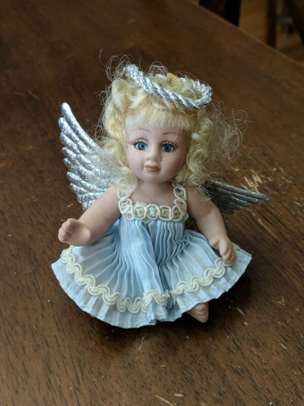 """Vintage Classic Creations Angel Baby Doll Cherub 4"""" with blue dress"""