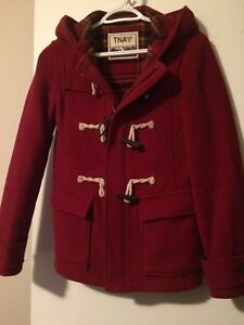 TNA Red Wool Hooded Pea Coat w Toggle Clasps Size XS