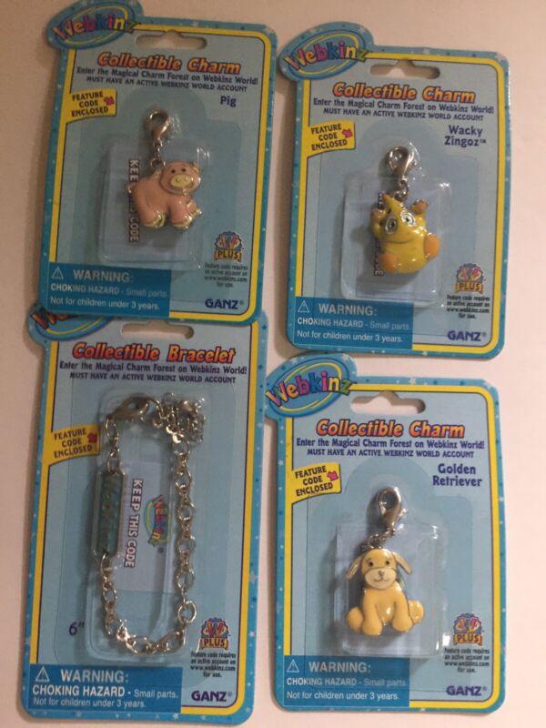 Webkinz Charm Lot - Bracelet With Golden Retriever, Pig, Wacky Zingoz Charm NEW