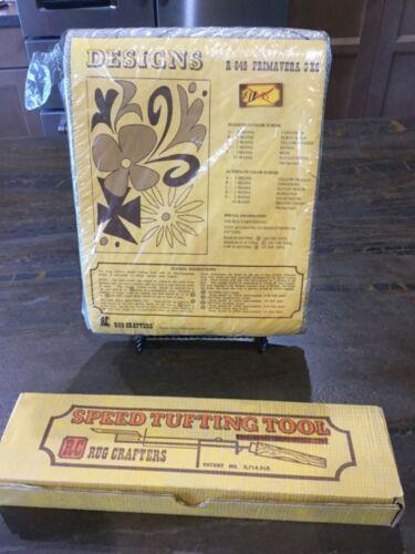 LOT Vintage Rug Crafters Speed Tufting Tool & 3'x5' Burlap Canvas Primavera R649