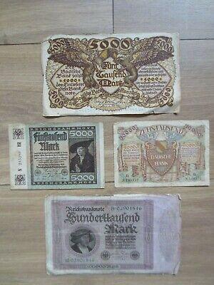Ancien billets Allemand de 100000 , 10000 et 5000 Mark lot de 4