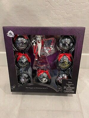 NEW Disney Store The Nightmare Before Christmas Ornament Set of 7 w/Tree Topper