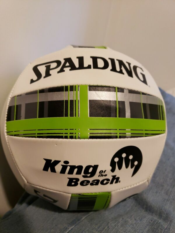 Spalding King Of The Beach Volleyball White with Green Plaid