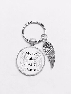 Pet Memorial Keychain My Fur Baby Lives In Heaven Animal Dog Cat Angel Wing - Live Animal Keychain