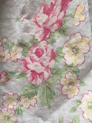 (Pottery Barn Kids Cottage Floral Twin Bedskirt Robin Egg Blue Pink Roses)