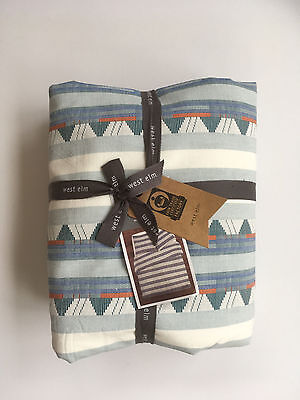 West Elm Mixed Stripe Jacquard Duvet Cover Full Queen Nwt Moonstone