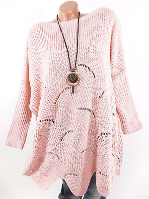 Pullover Damen rosa Oversize Italy Long Strickpullover 40 42 44 46 48 50 Kleid