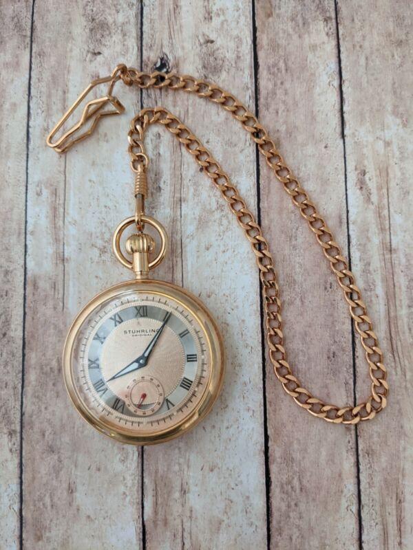 Stuhrling Original Montres de Poche Versailles 616 51mm  Mens gold Pocket Watch
