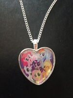 Silver Plated Heart Pendant Necklace My Little Pony Mlp Rainbow Dash Applejack - handmade - ebay.co.uk